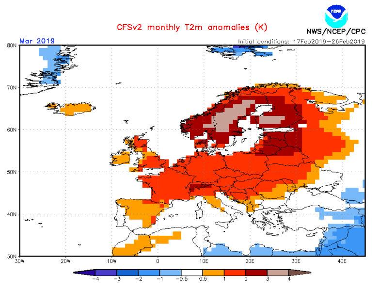 Prognoza odchylenia średniej temperatury miesięcznej na marzec (NOAA)
