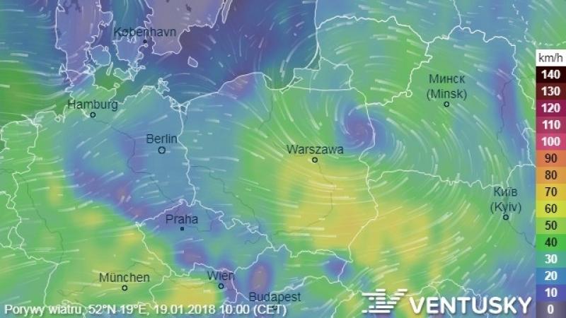 Porywy wiatru w piątek (Ventusky.com)
