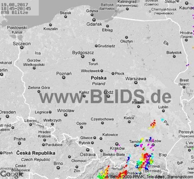 Burze nad Polską w godz. 18.45-20.45 (blids.de)