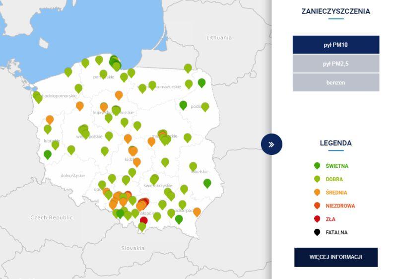 Stężenie pyłu PM10 w Polsce po godzinie 6.30