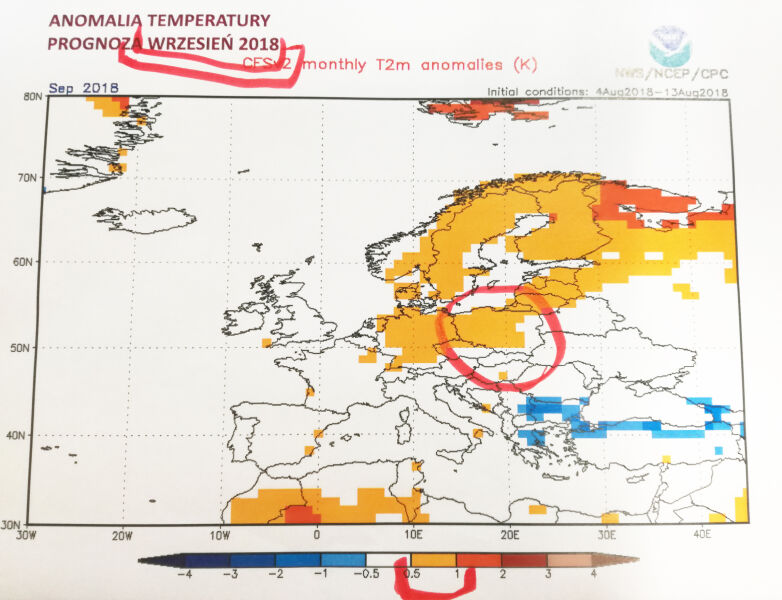 Prognoza odchyleń temperatury od średniej wieloletniej na wrzesień 2018 (NOAA)